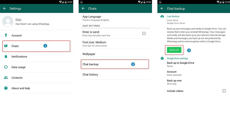 transfer whatsapp data to redmi note 9 via google drive