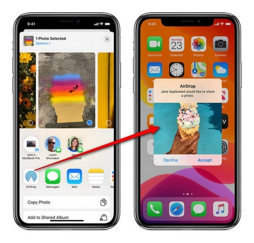 use airdrop to transfer photos between iPhone11 and iPad