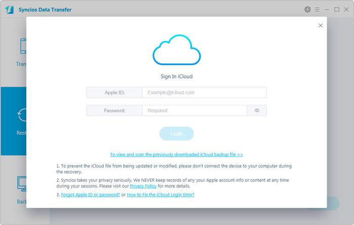 download backup from iCloud