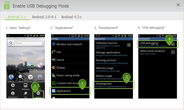 enable USB debugging mode on Android 2