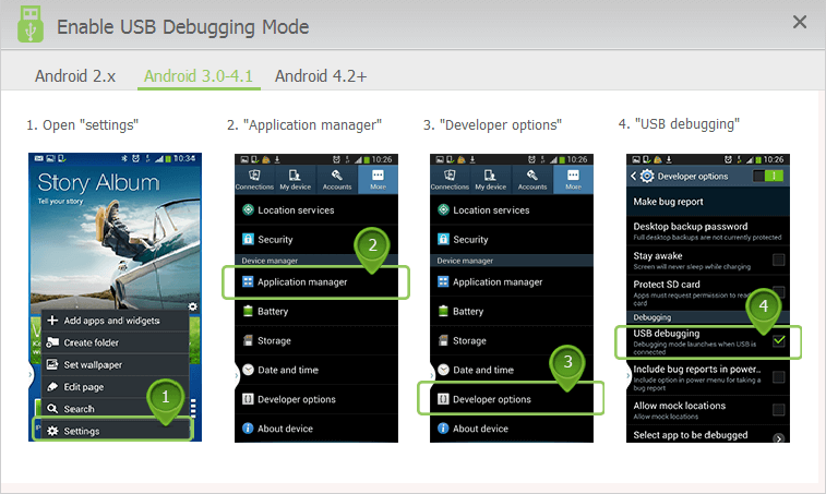 enable USB debugging mode on Android 3 to 4.1