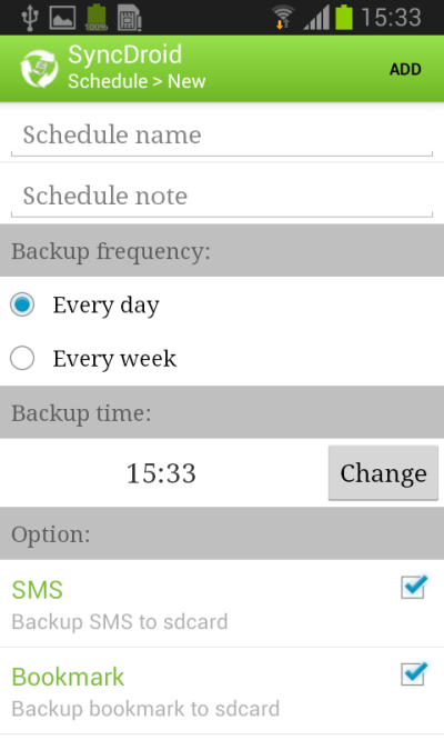 Android Backup Schedule